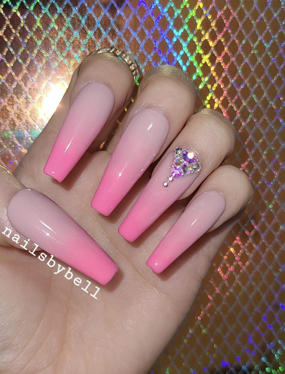 Hot pink long acrylic ombre nails
