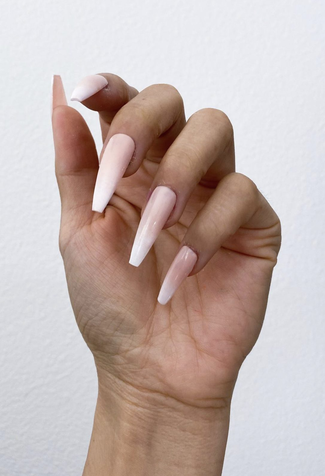 Pink And White French Tip Ombre Nails Coffin