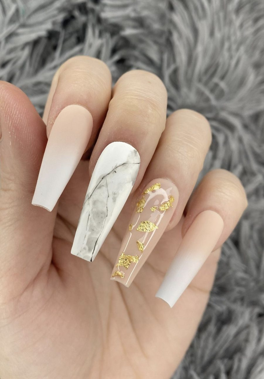 Pink And White Ombre Nail Designs With Gold Foil