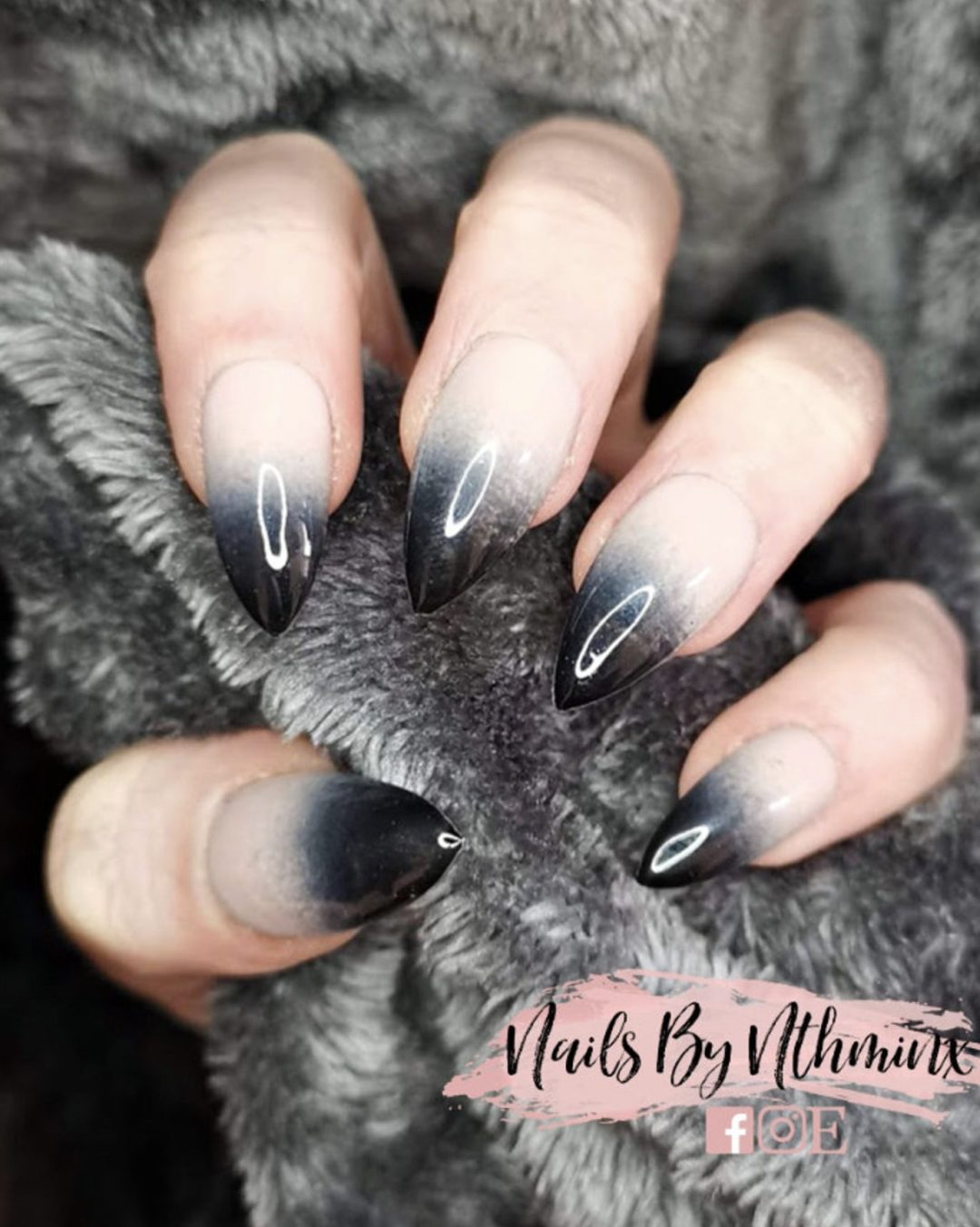 Black almond ombre nails