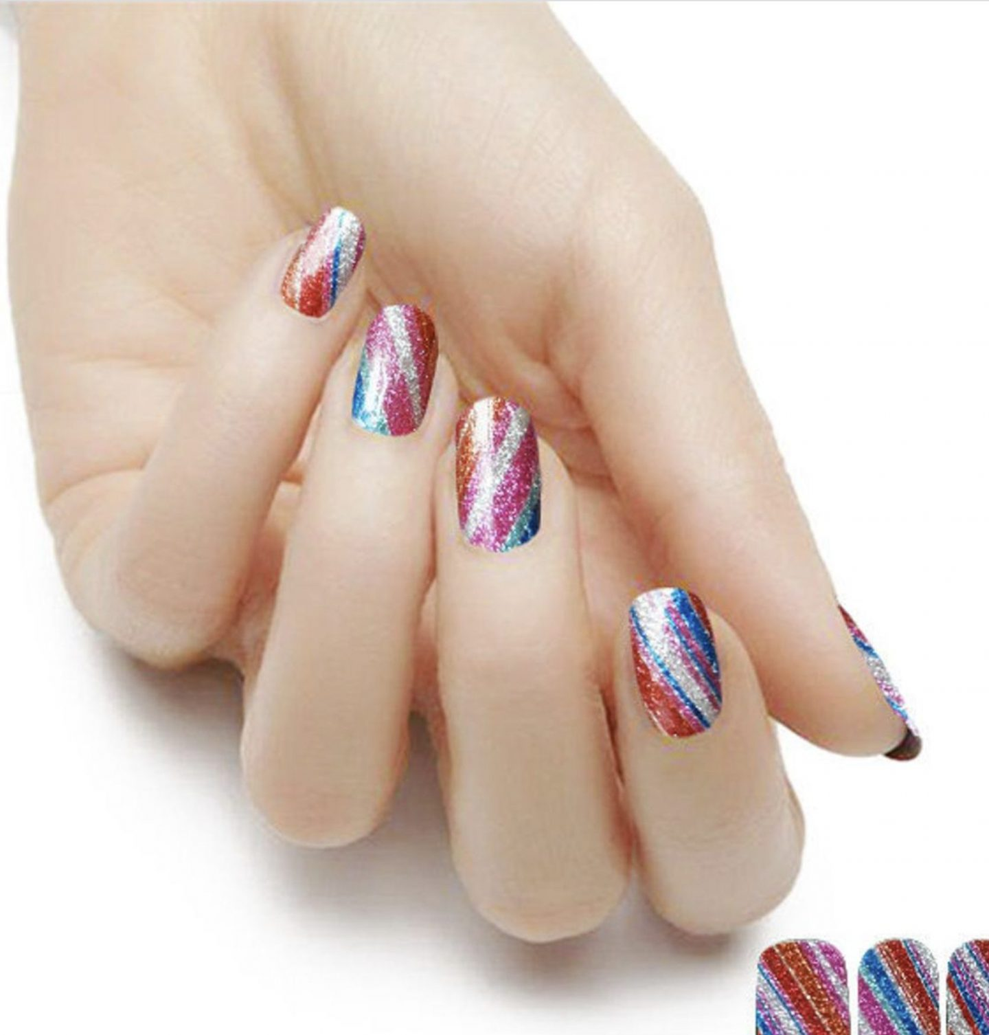Glitter red and blue nail wraps