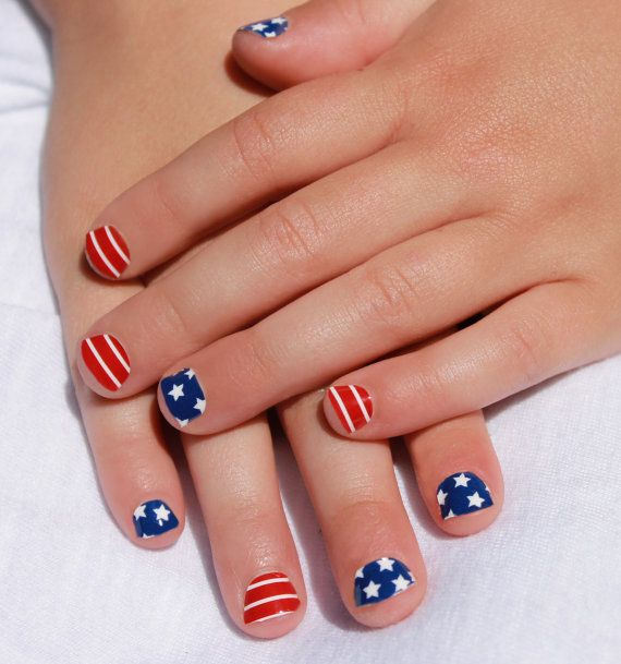 Cute short patriotic nails with red and blue