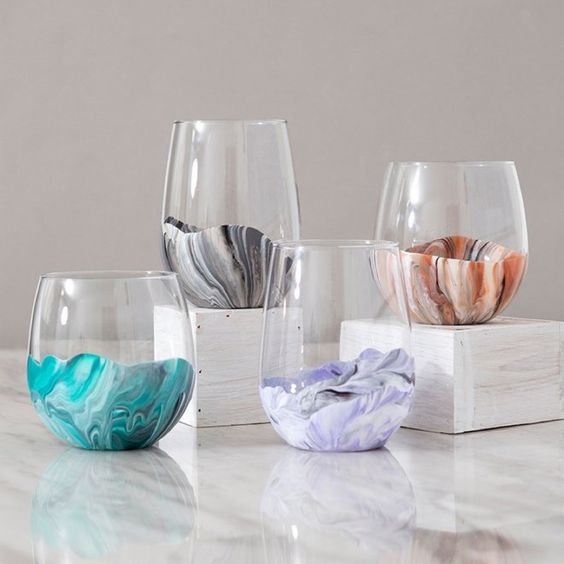 Unique crafts to make and sell: Painted marble glasses