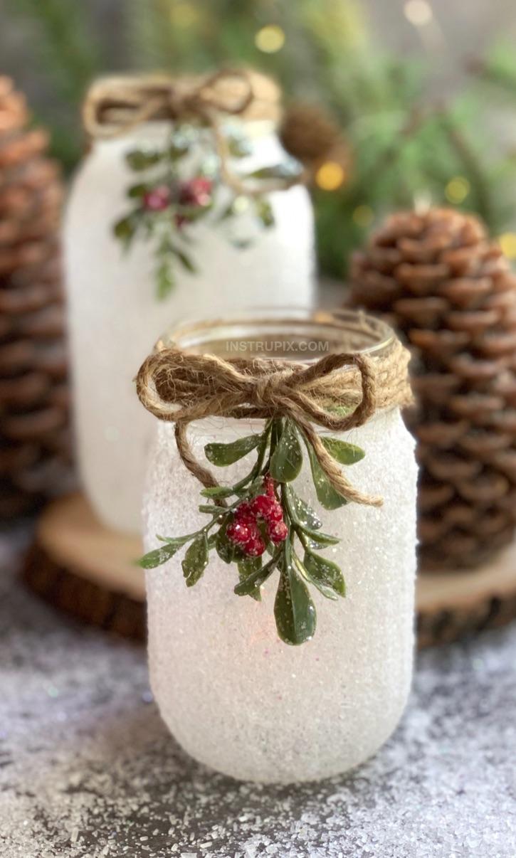 Unique crafts to make and sell: Snowy Mason Jar Luminaries