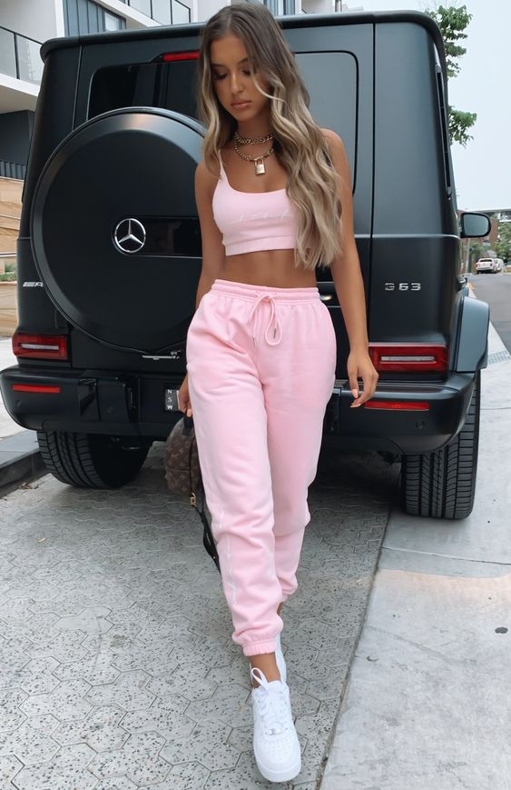 Cute pink outfits with joggers and co ord sets
