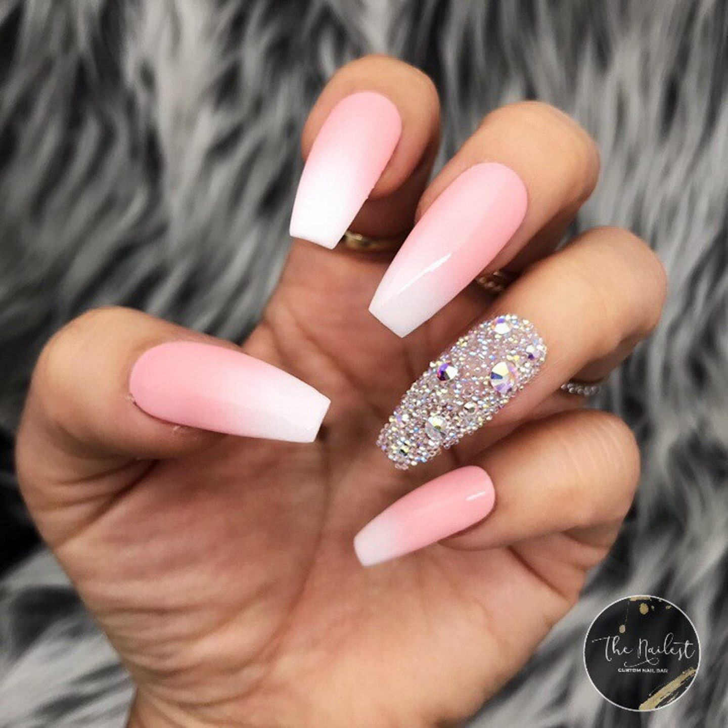 Pink And White French Tip Ombre Nails With Rhinestones