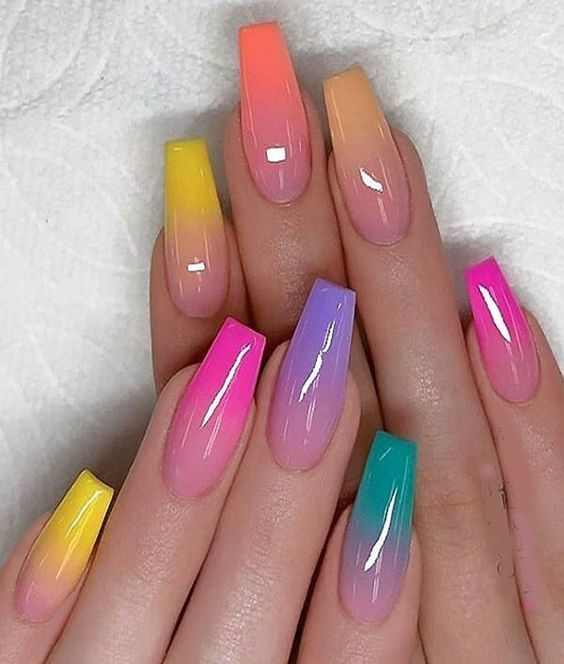 Colorful Ombre Nails Coffin, Rainbow Ombre Nails
