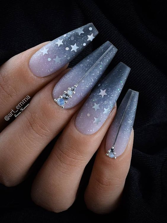 Dark Blue Ombre Nails Coffin With Stars