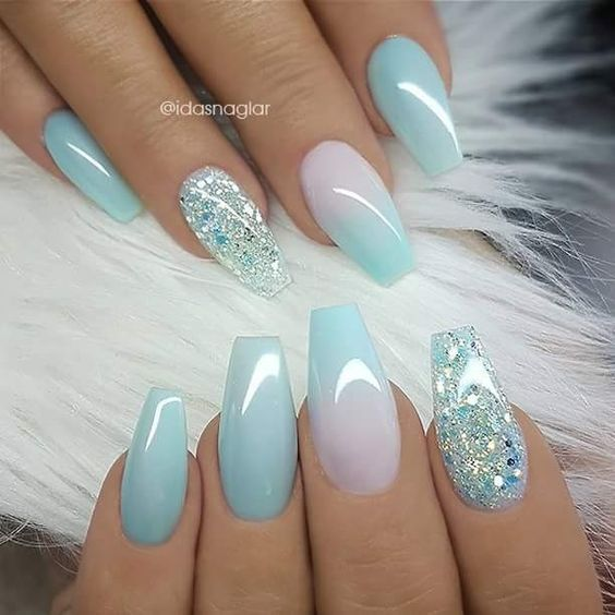 Light Blue Ombre Nails With Glitter