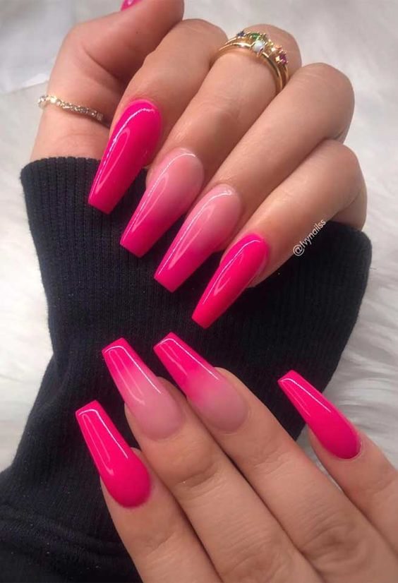 Acrylic Coffin Hot Pink Ombre Nails