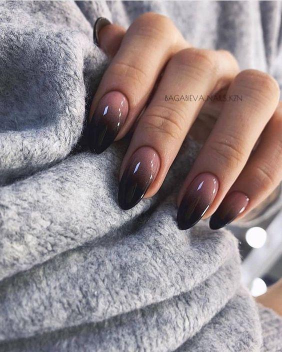 Cute Black Ombre Nails Gel