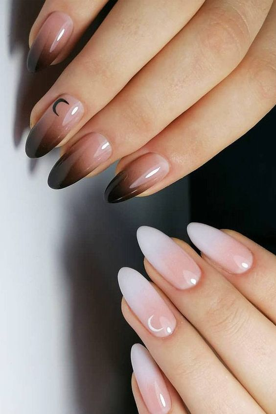 Cute Black Ombre Nails With White Ombre Nails