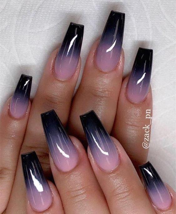 Acrylic Black Ombre Nails