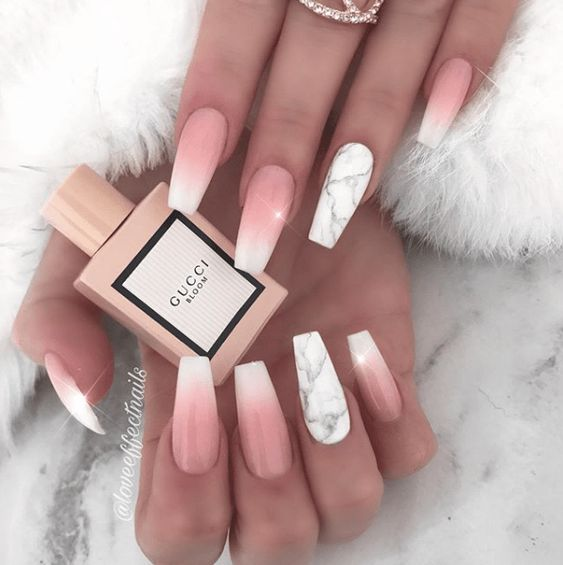 Pink And White Ombre Nail Designs Coffin