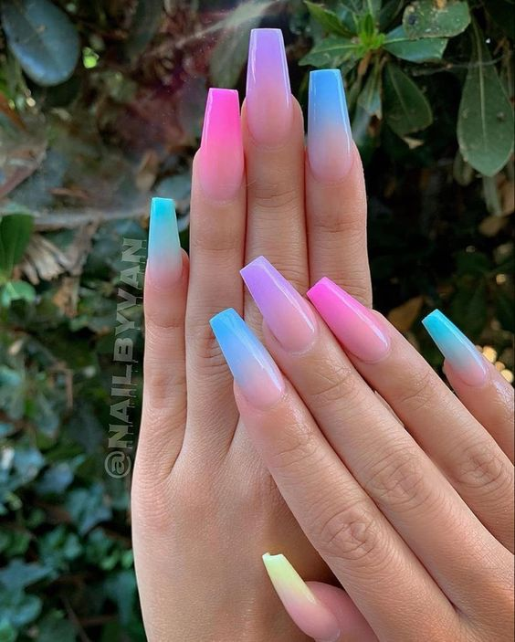 Colorful Ombre Nails Coffin with blue, pink and purple.