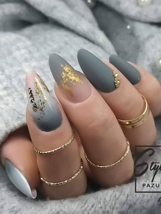 Matte Grey Ombre Nail Art with almond shape