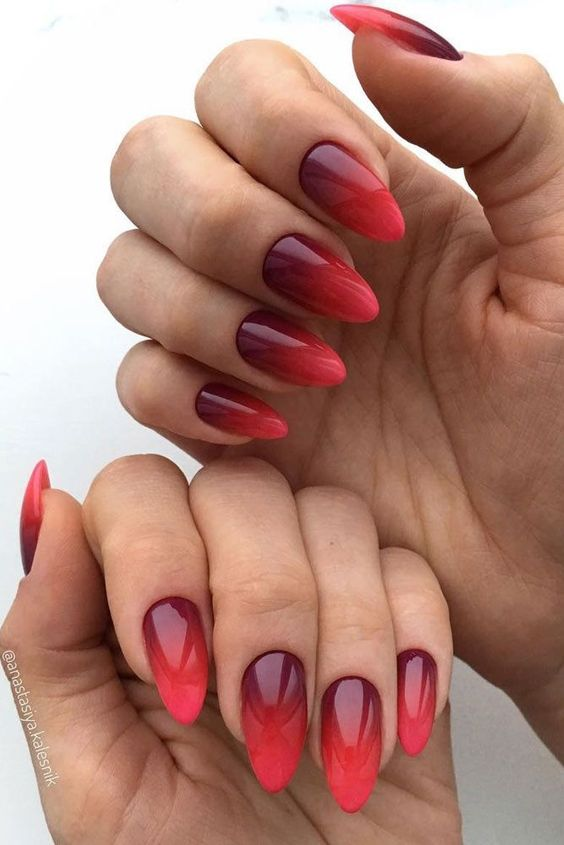 Red Ombre Nails Gel
