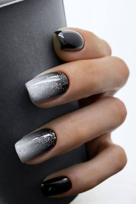 White And Black Ombre Nails Gel