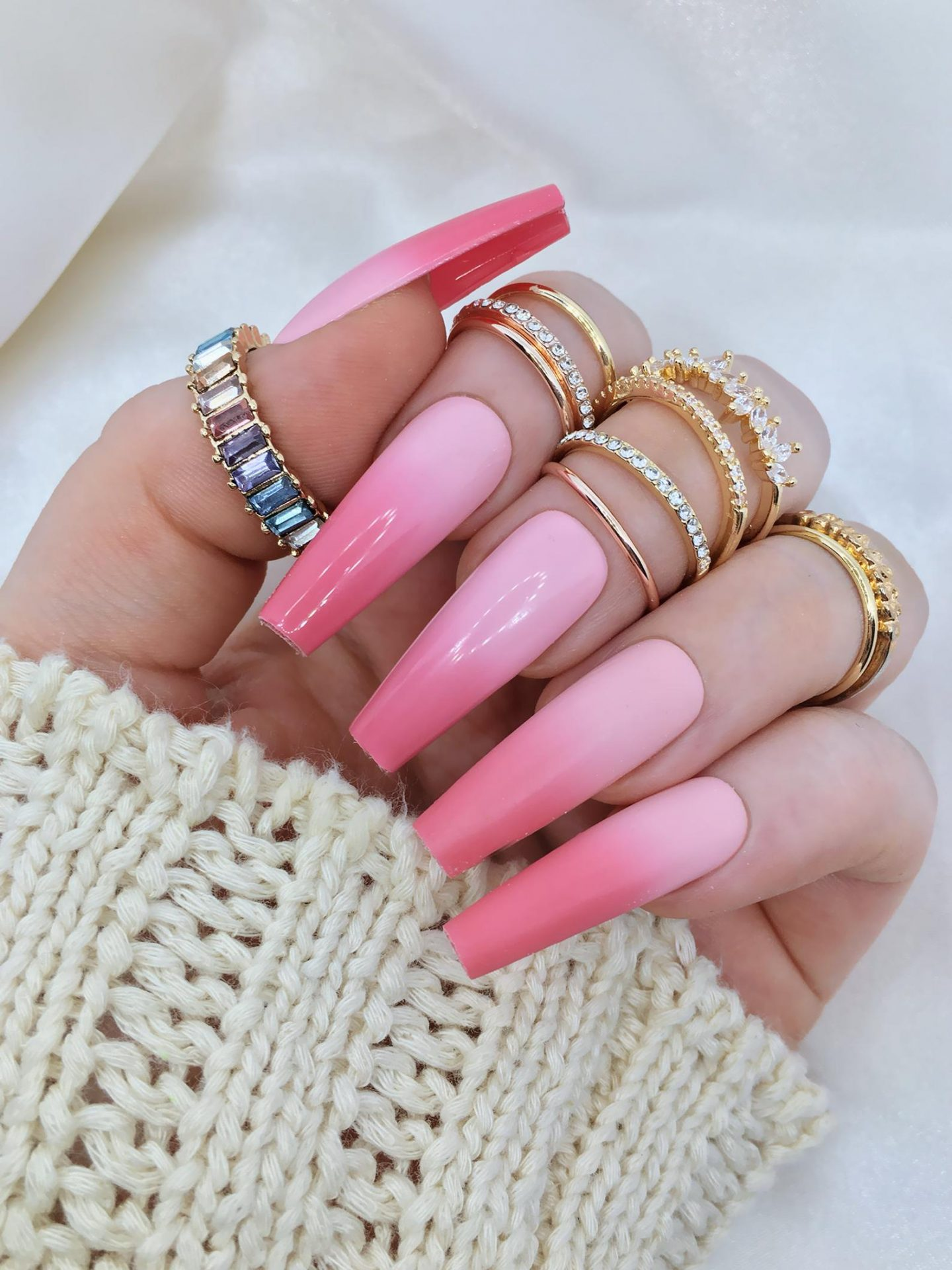 Baby pink ombre nails
