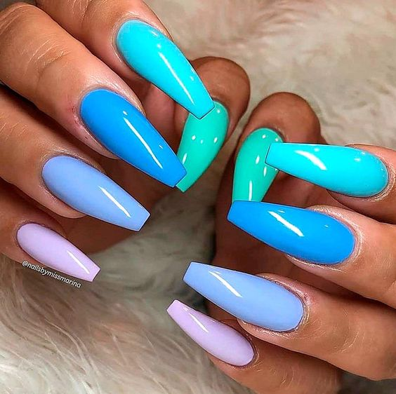 Shades of blue nails with acrylic coffin shape - blue ombre nails