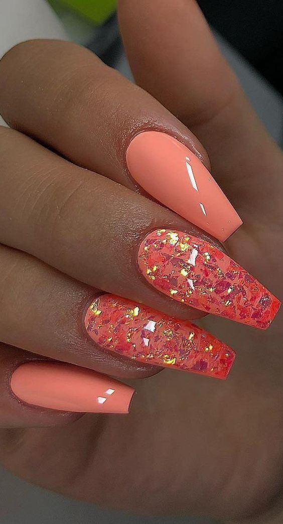 Cute summer nails with bright orange