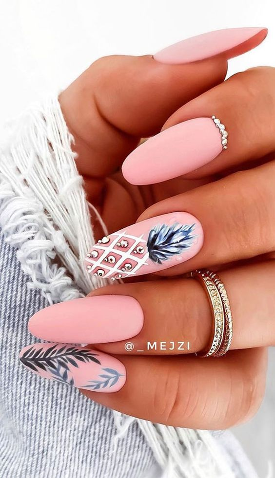 Pink cute summer nails with pineapple nail art