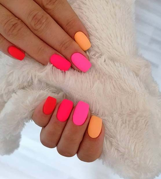 Bright pink and orange summer nails