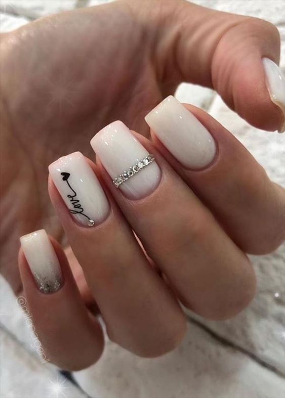 White acrylic coffin nails for engagement