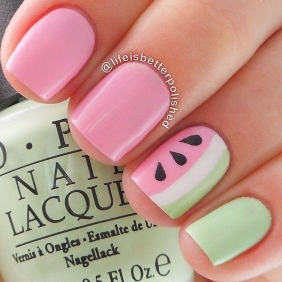 Cute light pink summer nails - pink watermelon nails