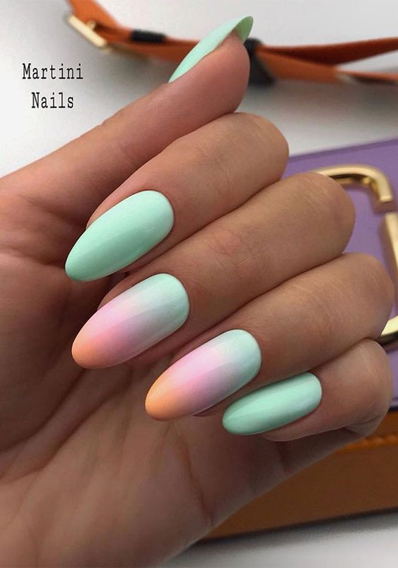 Pastel and mint green summer nail designs