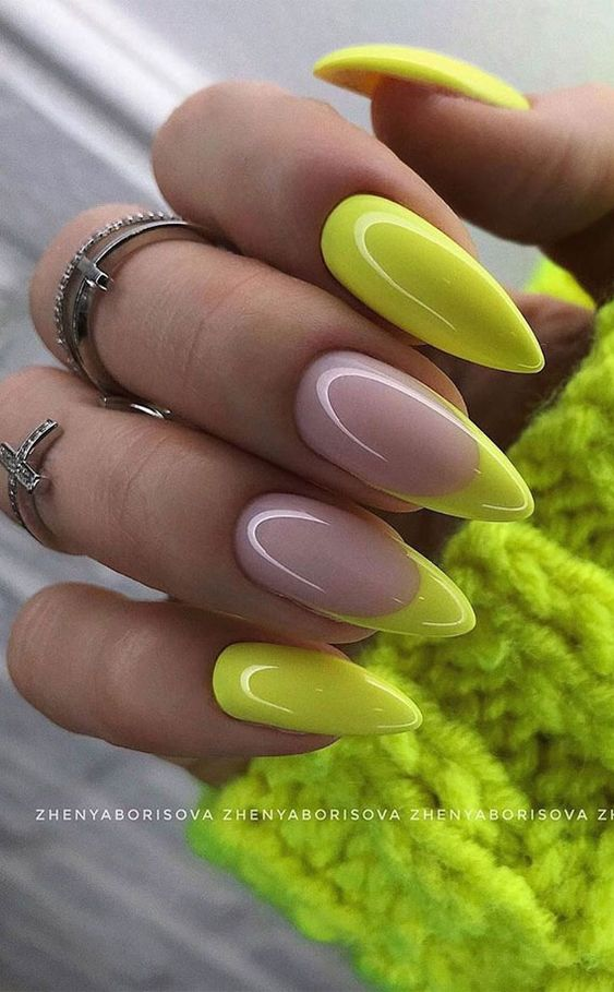 Neon yellow nails with French tips