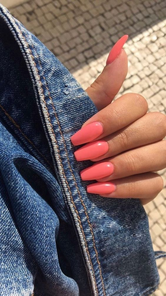 Bright acrylic coffin summer nails