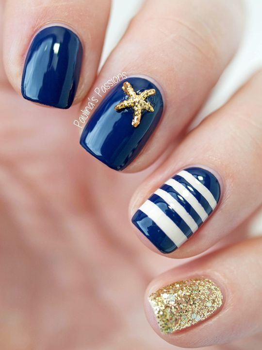 Cute navy summer nails: nautical nails and sailor nails