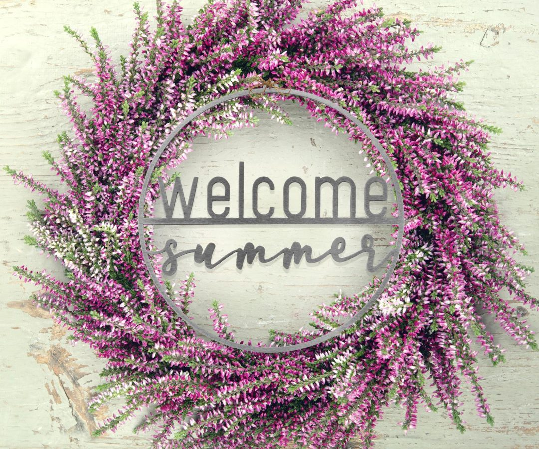 Purple summer wreaths with flowers