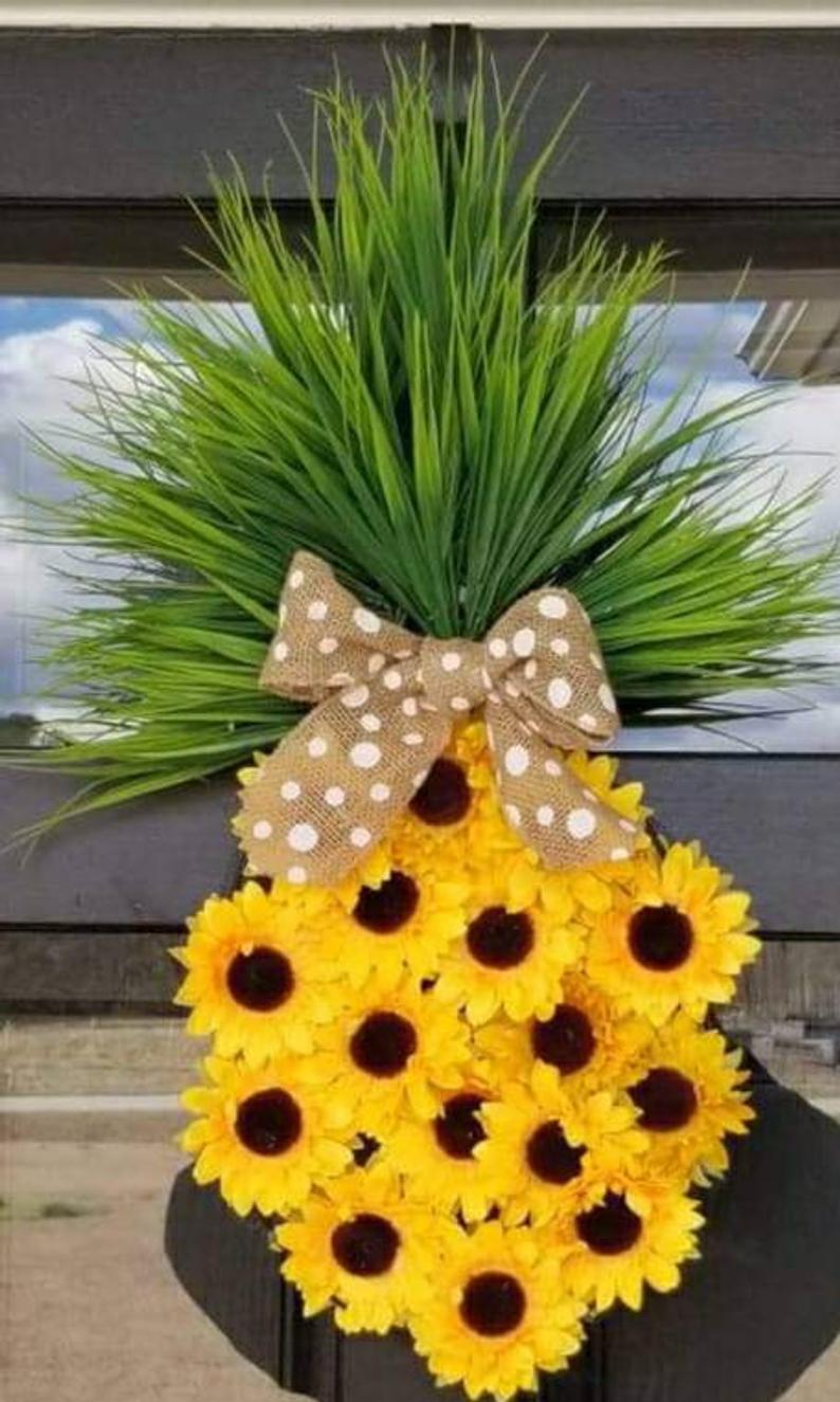 Yellow sunflower wreaths and pineapple wreaths