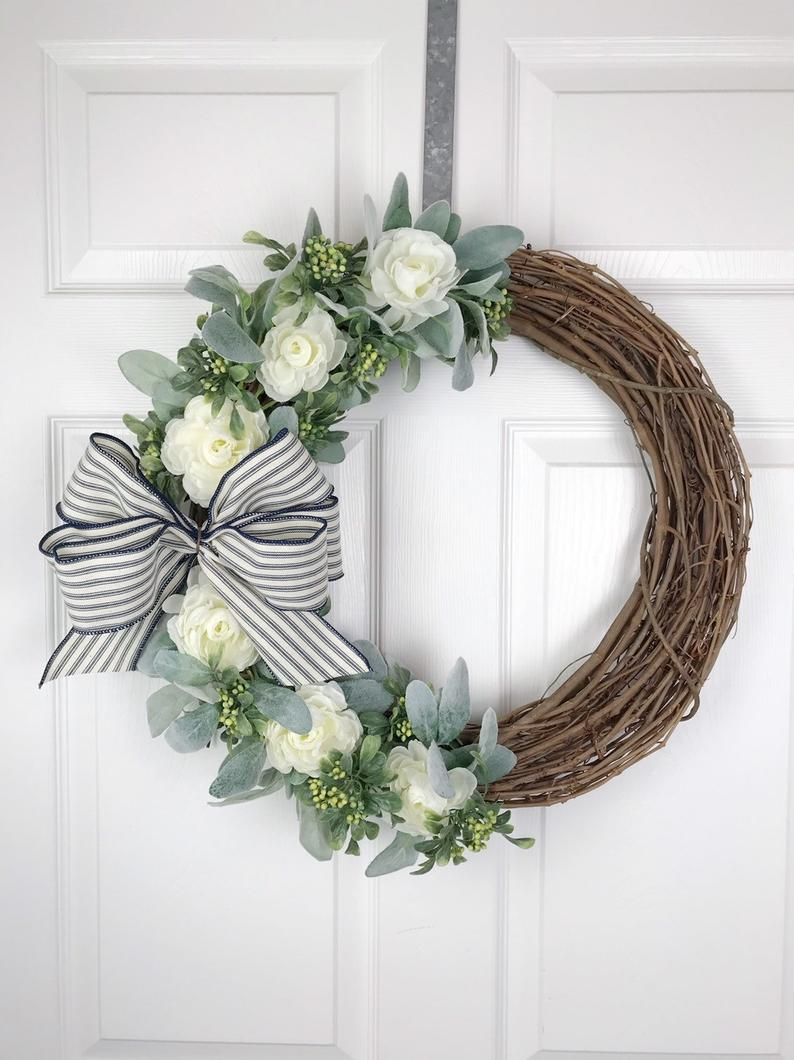 Modern farmhouse wreaths with lambs ear and grapevine, best summer wreaths for front door