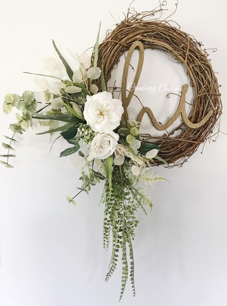 Farmhouse summer wreaths for front door with grapevine