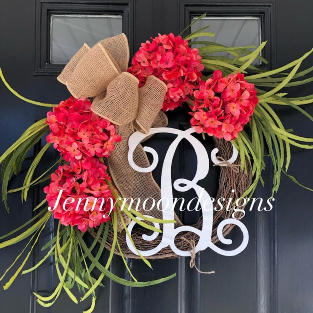 Beautiful summer wreaths for front door with burlap and flowers