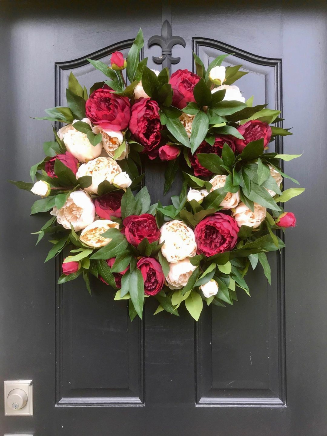 Best summer wreaths for front door, red and white peony wreath