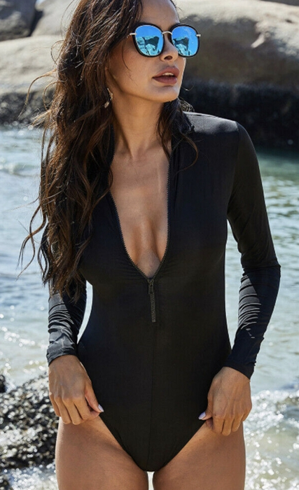 Black long sleeve one piece swimsuits that cover arms
