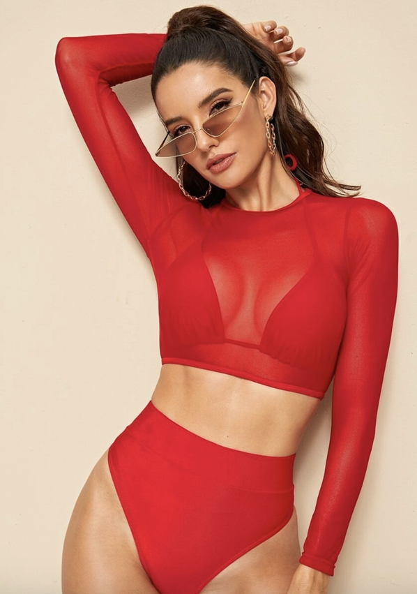 Red long sleeve swimsuits that cover arms