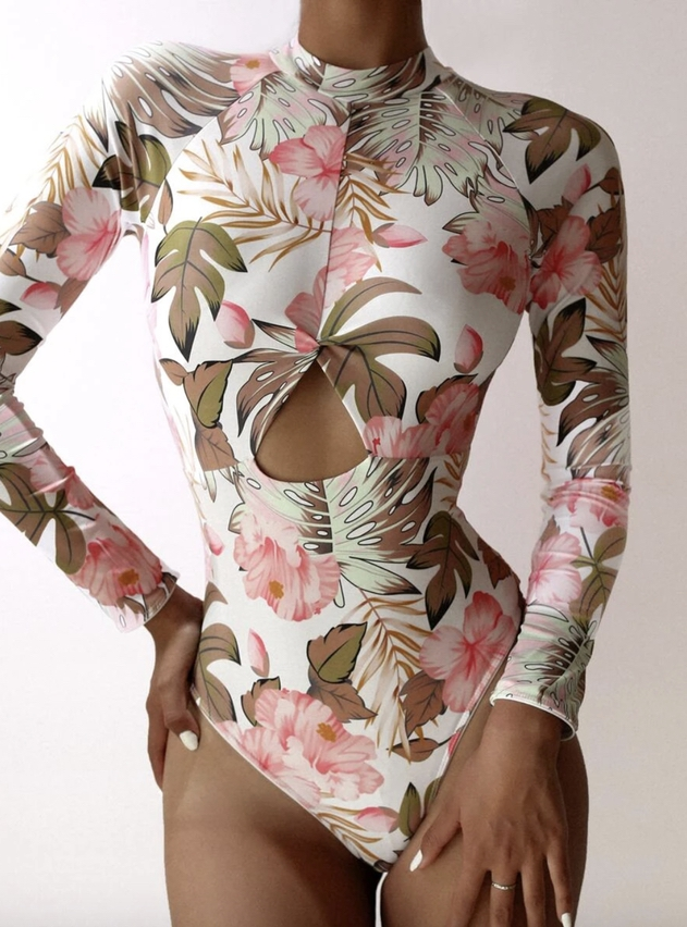 White floral print long sleeve one piece swimsuits that cover arms
