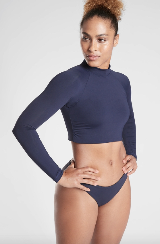 Navy long sleeve swimsuits that cover arms