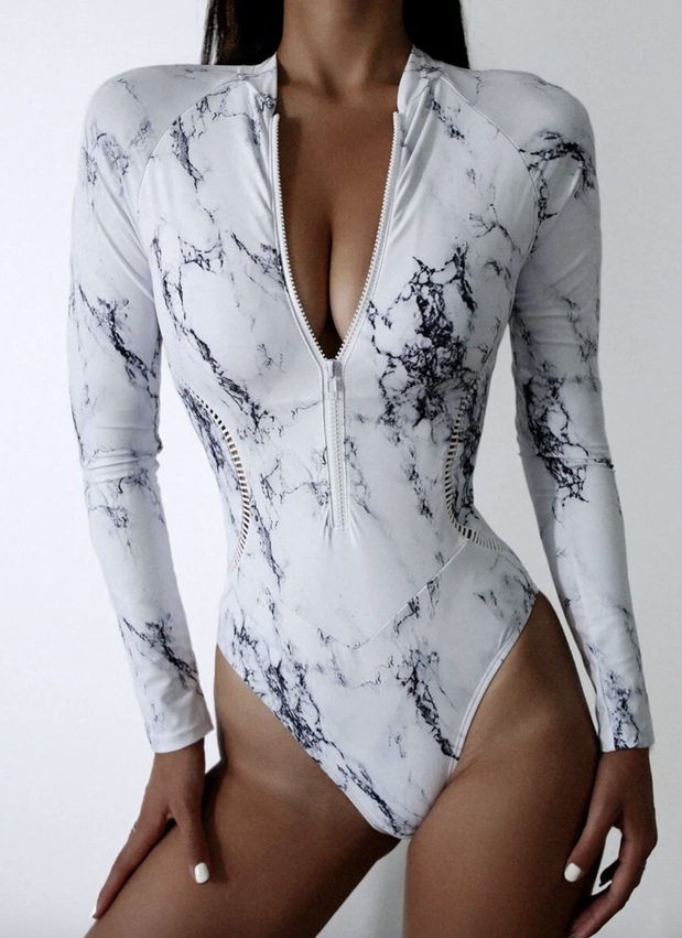 White marble long sleeve one piece swimsuits that cover arms