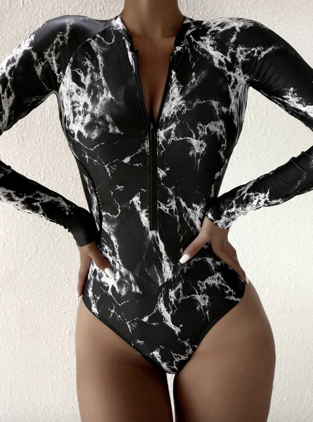 Black marble long sleeve one piece swimsuits that cover arms