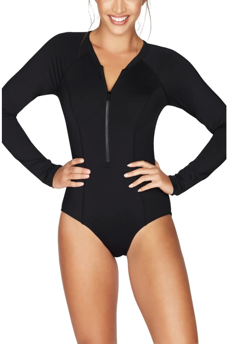 Black long sleeve one piece bathing suits that hide arm fat