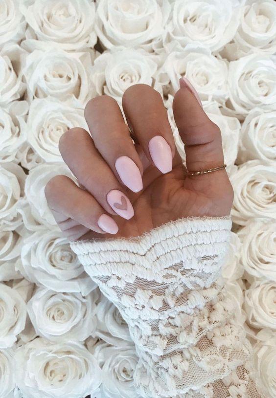 Light pink Valentines nails