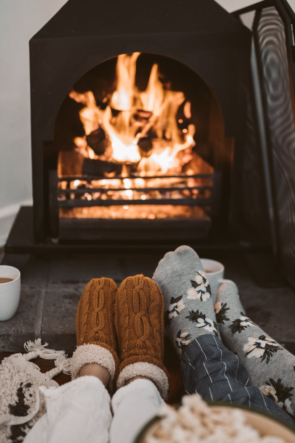 Cozy winter wallpaper for iphone with fireplace, fireplace wallpaper