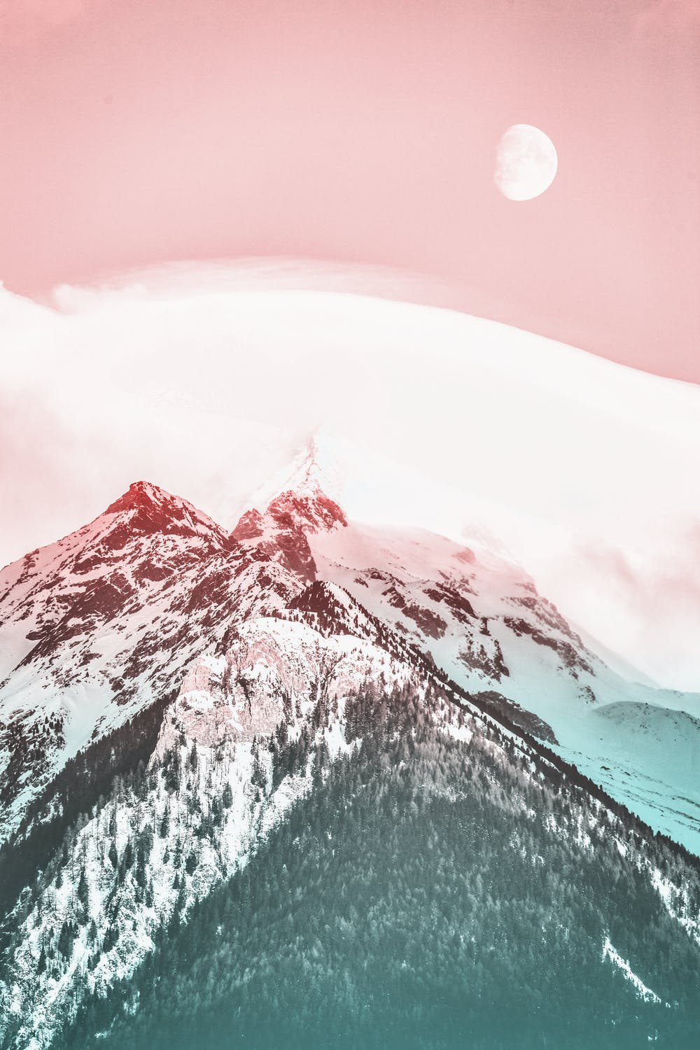 Mountain wallpaper with pink sky
