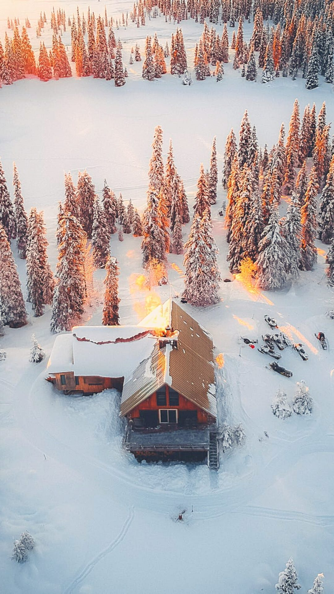 Winter wallpaper with snow and cottage